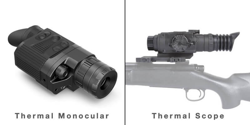 Thermal monocular and thermal scope for hunting